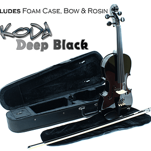 Koda Black Violin Outfit - Violin with foam case bow and rosin