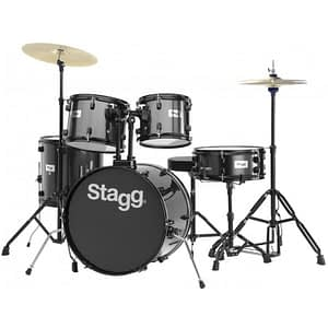 "Stagg TIM120B 5-Piece 20"" Drum Set with Cymbals, Hardware and Throne, Black - FREE DELIVERY"
