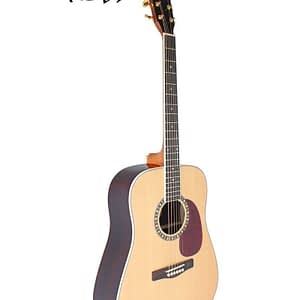 "High quality 41"" dreadnought acoustic guitar. With spruce top, rosewood fingerboard, rosewood back and sides, two strap buttons and gold machine heads."