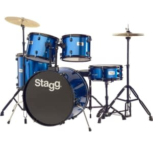 "Stagg TIM122B 5-Piece 22"" Drum Set with Cymbals, Hardware and Throne, Blue - FREE DELIVERY"