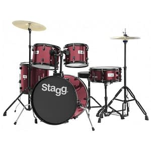 "Stagg TIM120B 5-Piece 20"" Drum Set with Cymbals, Hardware and Throne, Red - FREE DELIVERY"