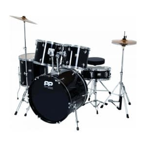 "Performance Percussion PP250BK 5 Piece 22"" Drum Kit with Cymbals, Hardware and Throne, Black - FREE DELIVERY"